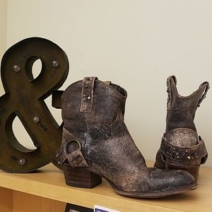 Frye Ankle Boots - Distressed cowboy boots